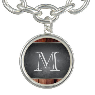Chic Grunge Wood with Monogram Charm Bracelet
