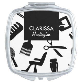 Chic Hair Stylist Pattern Custom Name Compact Mirror