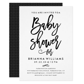 Chic Hand Lettered Baby Shower Card