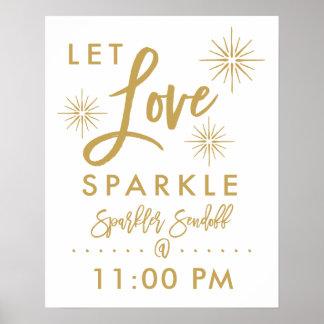 Chic Hand Lettered Gold Sparkler Sendoff Sign