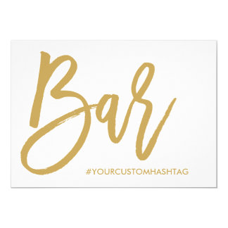 Chic Hand Lettered Gold Wedding Bar Hashtag Sign Card