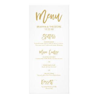Chic Hand Lettered Gold Wedding Menu Personalized Rack Card