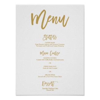 Chic Hand Lettered Gold Wedding Menu Poster