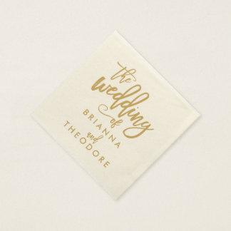 Chic Hand Lettered Gold Wedding Napkins Paper Napkins