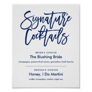 Chic Hand Lettered Navy Signature Cocktails Menu Poster