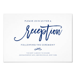 "Chic Hand Lettered Reception Accommodations 2-Side 3.5"" X 5"" Invitation Card"