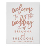 Chic Hand Lettered Rose Wedding Welcome Sign