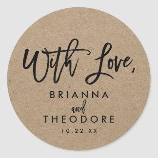 """Chic Hand Lettered Rustic """"With Love"""" Favor Label Round Sticker"""