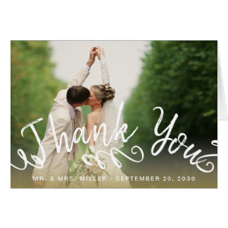 Chic Hand Lettered Script Photo Wedding Thank You Card