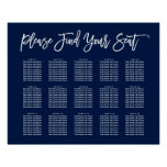 Chic Hand Lettered Seating Chart Navy