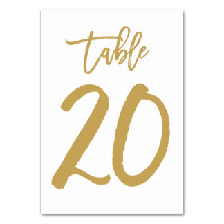 Chic Hand Lettered Table Number Gold | Table 20 Table Cards
