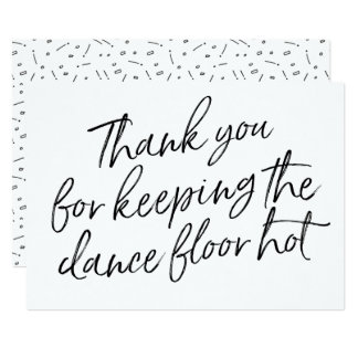 "Chic Hand Lettered ""Thank you"" DJ, Musician, Band Card"