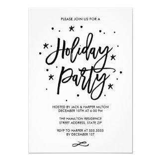 Chic Hand Lettered Typography Holiday Party Card