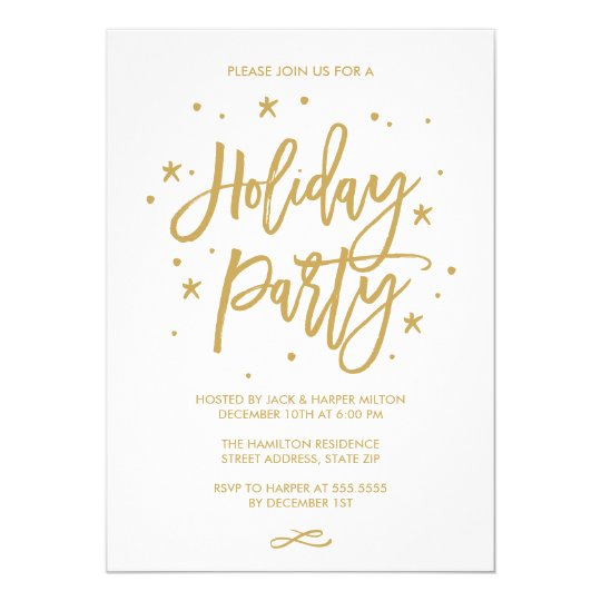 Chic Hand Lettered Typography Holiday Party Gold Card