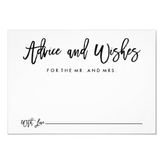 """Chic Hand Lettered Wedding Advice and Wishes Card 3.5"""" X 5"""" Invitation Card"""