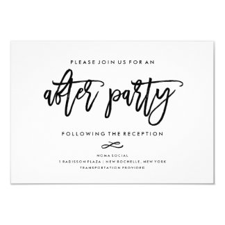 Chic Hand Lettered Wedding After Party Invitation