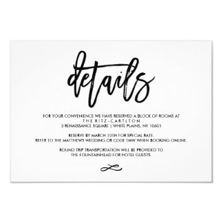 """Chic Hand Lettered Wedding Details Enclosure Card 3.5"""" X 5"""" Invitation Card"""