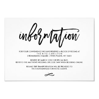 """Chic Hand Lettered Wedding Information Card 3.5"""" X 5"""" Invitation Card"""