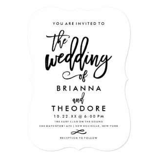 Chic Hand Lettered Wedding Invitation