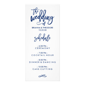 Chic Hand Lettered Wedding Menu Navy Blue Full Color Rack Card