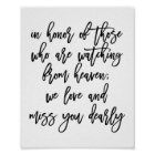 Chic Hand Lettered Wedding Missing Loved Ones Poster