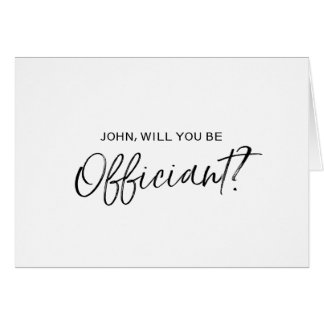 Chic Hand lettered Wedding Officiant Proposal Card
