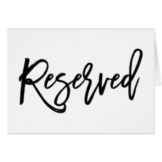 Chic Hand Lettered Wedding Reserved Sign Folded Card