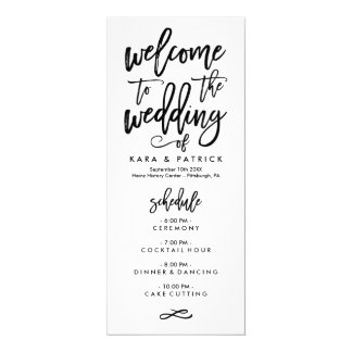 Chic Hand Lettered Wedding Schedule and Program