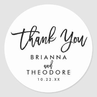 Chic Hand Lettered Wedding Thank You Favor Label Round Sticker