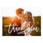 Chic Hand Lettered Wedding Thank You Postcard