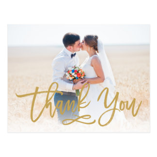 Chic Hand Lettered Wedding Thank You Postcard Gold