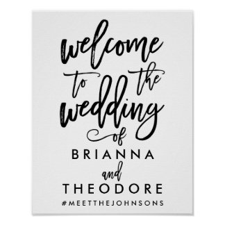 Chic Hand Lettered Wedding Welcome Sign Black Poster