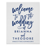 Chic Hand Lettered Wedding Welcome Sign Poster