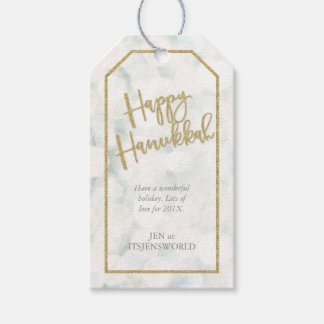 Chic Happy Hanukkah White and Gold Label Pack Of Gift Tags