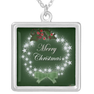 Chic Happy Holiday modern christmas wreath Silver Plated Necklace