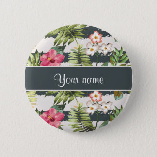 Chic Hibiscus Flowers and Stripes 2 Inch Round Button