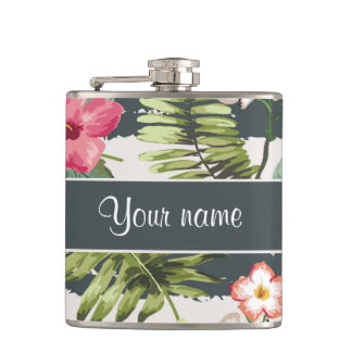 Chic Hibiscus Flowers and Stripes Flask