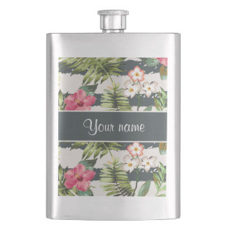 Chic Hibiscus Flowers and Stripes Hip Flask
