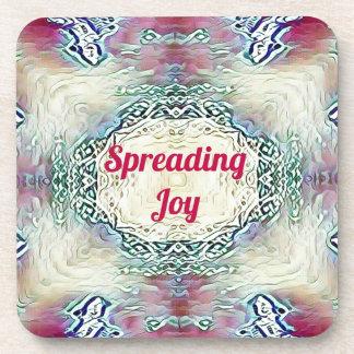Chic Holiday Season Burgundy Spreading Joy Coaster