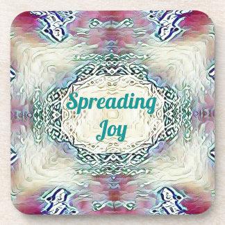 Chic Holiday Season Green 'Spreading Joy' Coaster