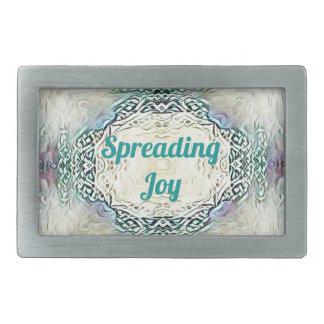 Chic Holiday Season Green 'Spreading Joy' Rectangular Belt Buckles