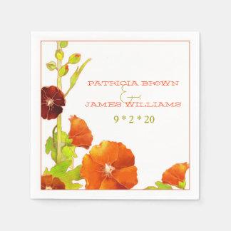 Chic Hollyhocks Red + White Wedding Paper Napkins