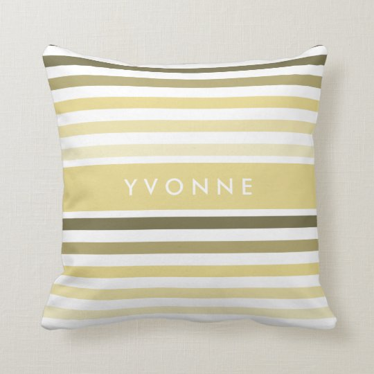 Chic Horizontal Stripes With Name in Soft Yellow Throw Pillow