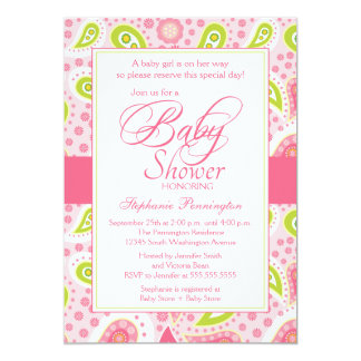 Chic hot pink green paisley baby shower invitation