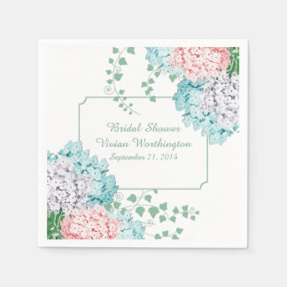 Chic Hydrangeas and Ivy Bridal Shower Napkins Paper Napkin