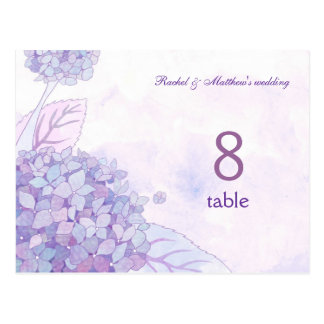 Chic Hydrangeas Wedding Table Number Postcard