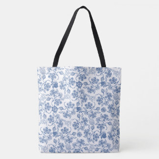 Chic Indigo Blue and White Floral Pattern Tote Bag