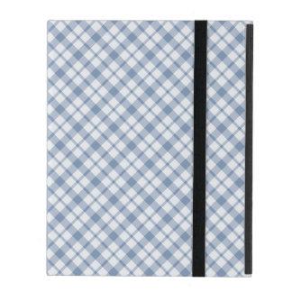 Chic Indigo Blue and White Preppy Check iPad Case