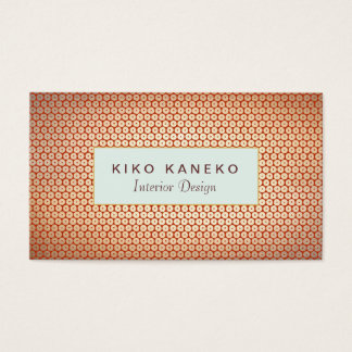 Chic Interior Design Gold Foil Look Blue Plaque Business Card