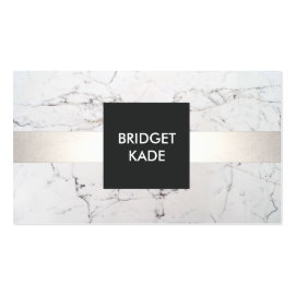 Chic Interior Designer Silver Striped White Marble